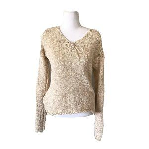 Lucky Brand Medium Cream Open Knit Sweater Top Med